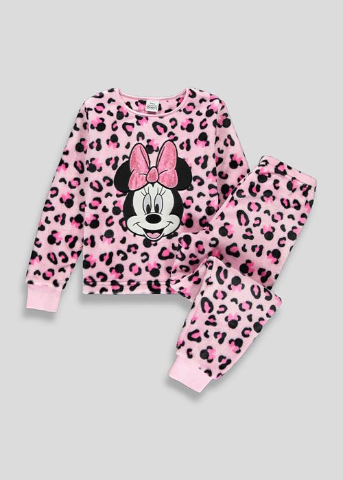 Kids Minnie Mouse Leopard Print Fleece Pyjamas Only £7