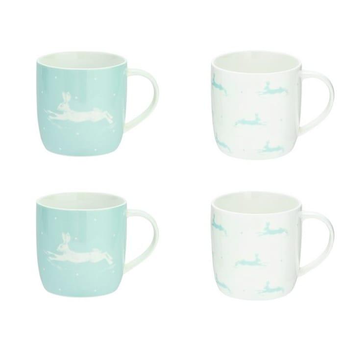 Argos Home Set of 4 Hare Polka Dot Mugs