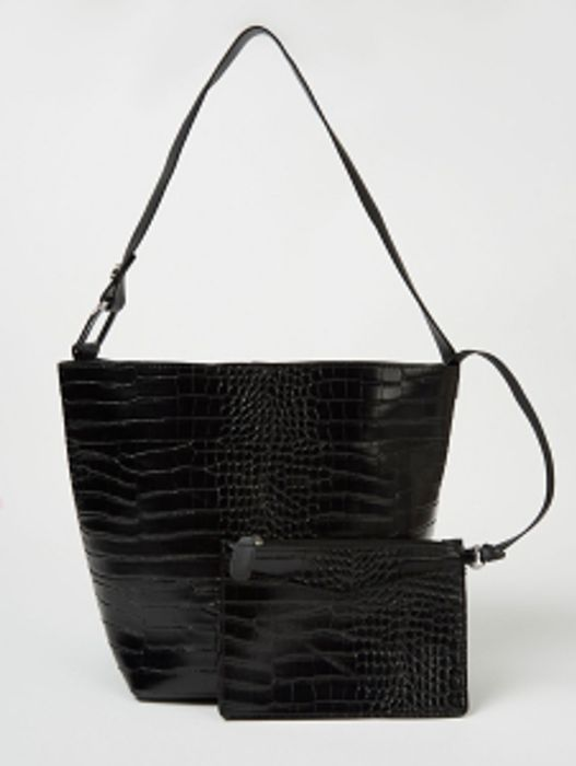 Black Patent Mock Croc Bucket Bag and Mini Clutch Set