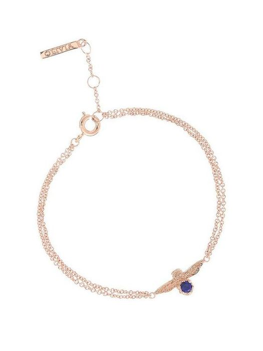 *SAVE £81* Olivia Burton Bejewelled Bee Chain Bracelet Rg & Lapis Lazuli