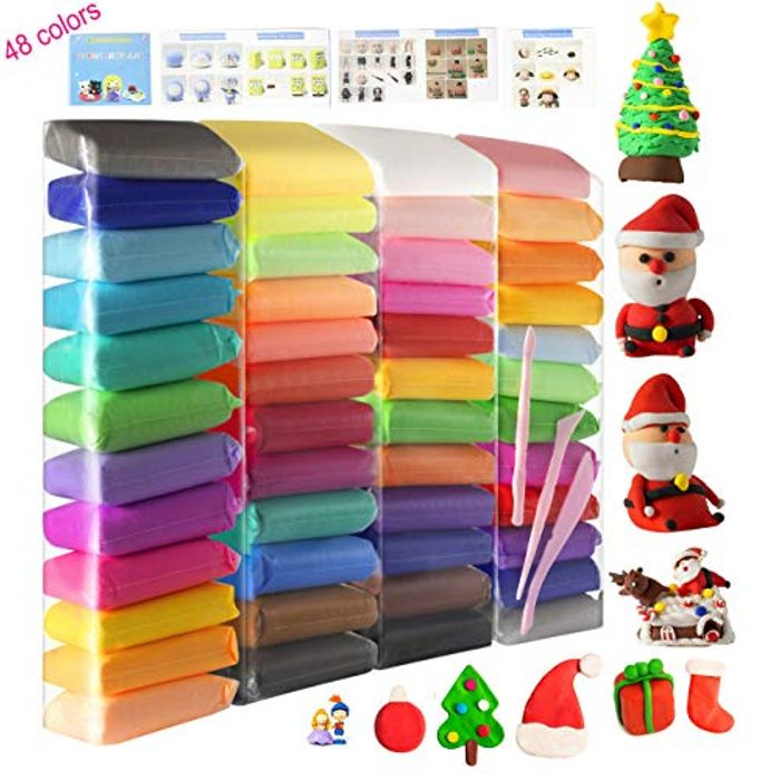 TOYOUTO 48 Colors Air Dry Clay, Modeling Clay with Tools and English Manuals