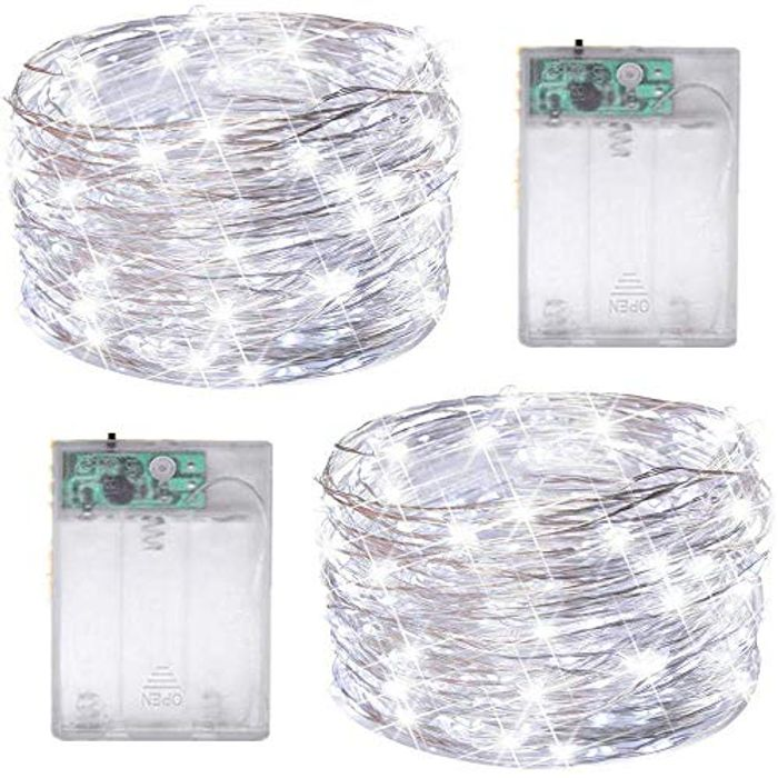 2 Pack 50 LED Silver Wire Fairy String Lights Battery Operated LED