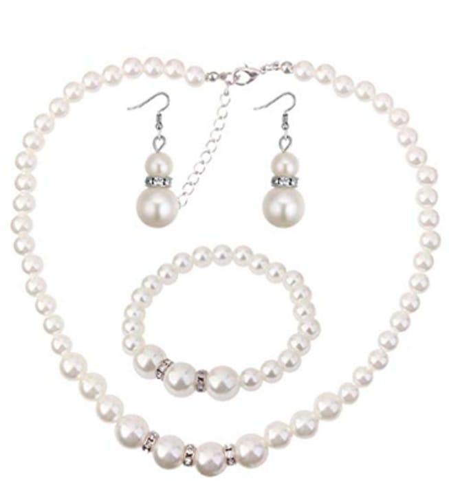 Women Elegant Rhinestone Pearl Dangle Earrings Bracelet Necklace Jewelry Set