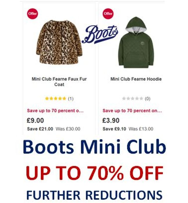 Boots MINI CLUB SALE - Further Reductions - NOW up to 70% OFF