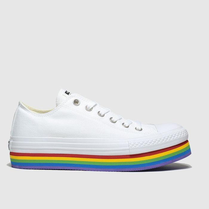 Bargain! Converse White & YEllow All Star Platform Rainbow Ox Trainer at Schuh