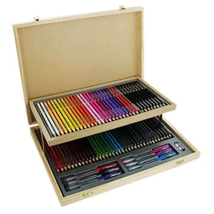 Cheap 75 Piece Wooden Case Stationery Set - Free Delivery with Voucher Code!