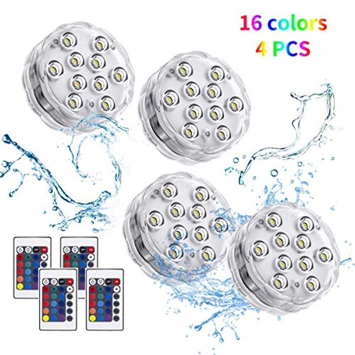 DEAL STACK! Submersible Led Lights with IR Remote 4 Pack