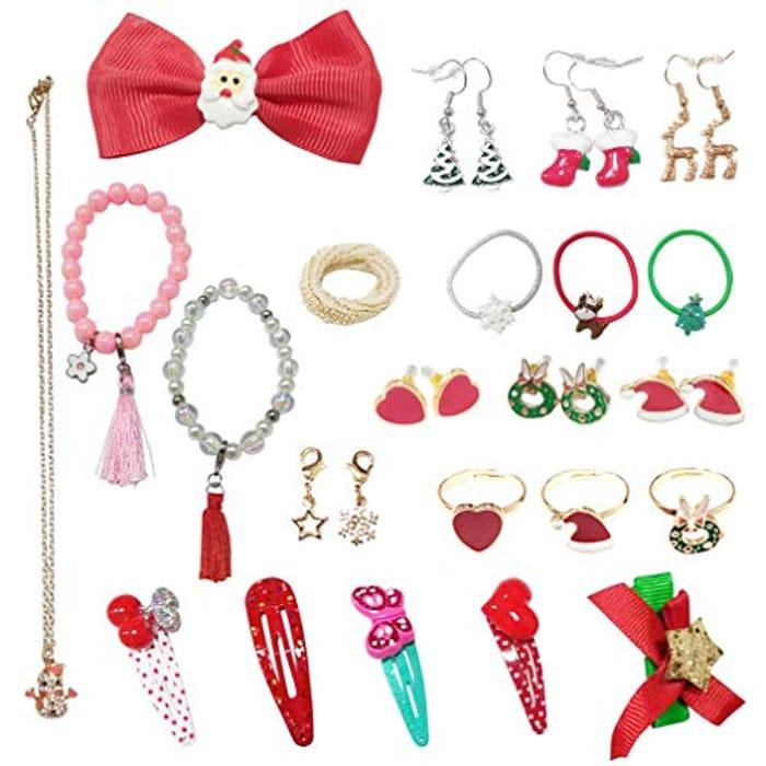 Advent Calendar, DIY Charm Jewellery NeckLace & Rings- 24 Pcs Set