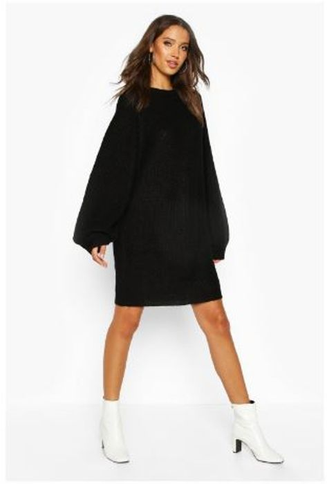 Tall Crew Neck Fisherman Rib Jumper Dress - Sizes: XS and S