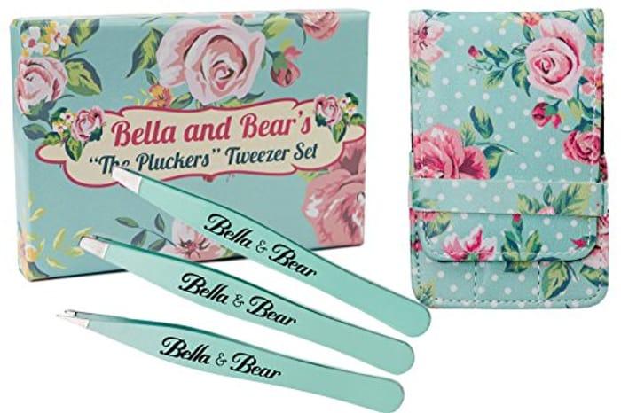Eyebrow Tweezers Set by Bella and Bear. Stainless Steel 3 Piece Tweezers Set