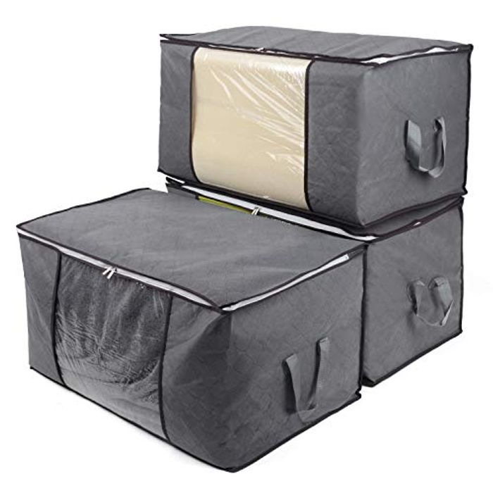 Storage Boxes for Clothes,Large Clear Window and Carry Handles Grey, 3 Packs