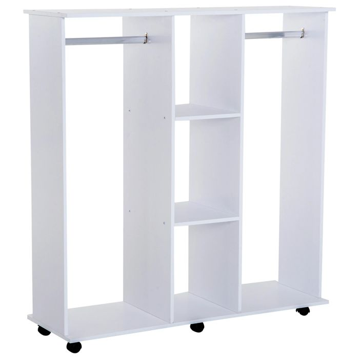 HOMCOM Mobile Open Wardrobe W/6 Wheels-White