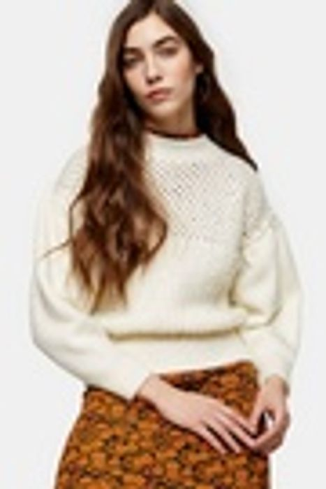 TOPSHOP Ivory mid Weight Yoke Knitted Jumper