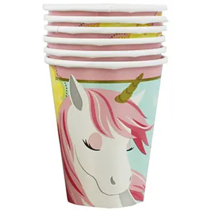 Unicorn Party Paper Cups - Pack of 8 at The Works Only £2