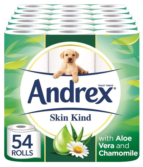 54 Andrex Skin Kind Toilet Rolls with Aloe Vera