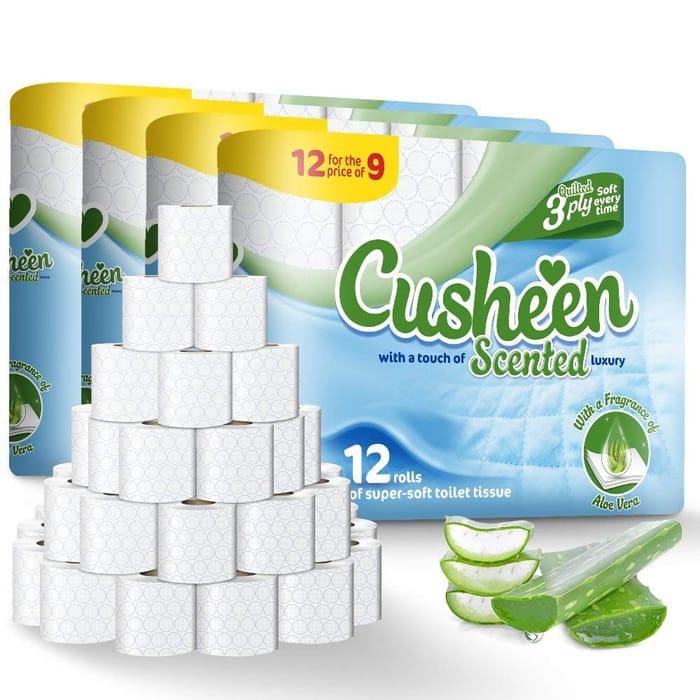 60 Cusheen Luxury Aloe Vera 3 Ply Toilet Rolls *4.5 STARS* + FREE DELIVERY