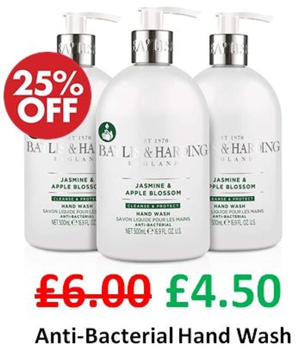 ANTI-BACTERIAL Hand Wash - Baylis & Harding Jasmine & Apple Blossom. 3 Pack.