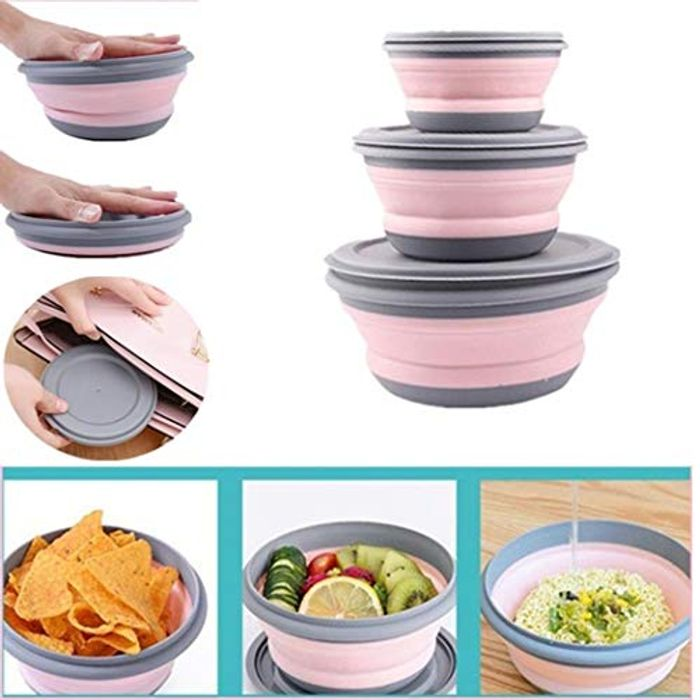 Kisshes 3Pcs Portable Collapsible Food Container