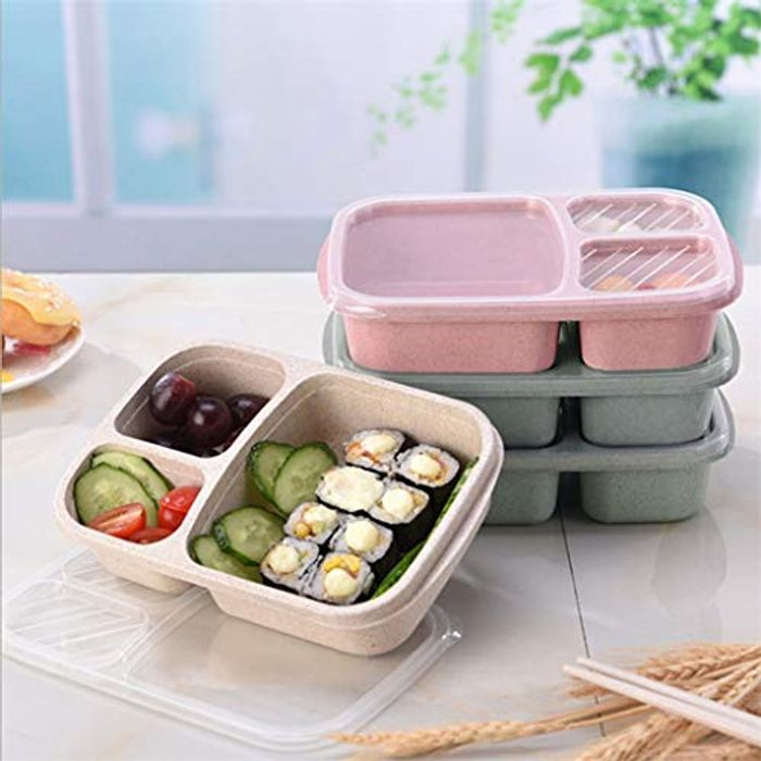 Prep Containers Reusable 3-Compartment Plastic Divided Food Storage Containers
