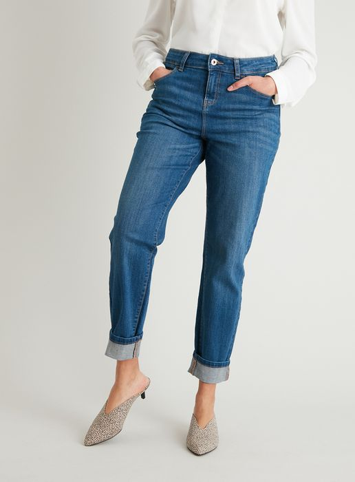 Midwash Denim Girlfriend Jeans with Stretch