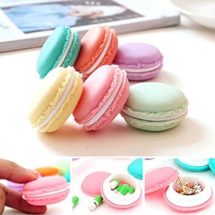 Travel Cosmetic Small 6 PCS Mini Earphone SD Card Macarons Bag Storage Box Case.