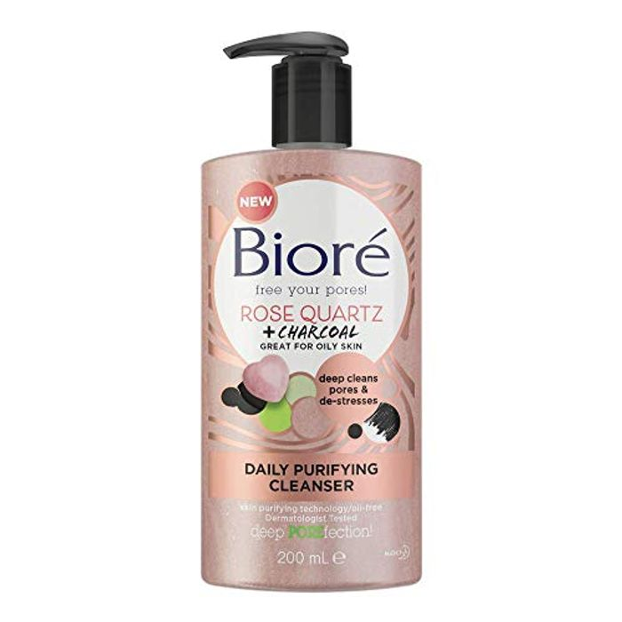 Biore Rose Quartz and Charcoal Daily Purifying Face Wash Cleanser 200 Ml