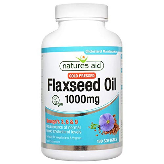 Natures Aid Flaxseed Oil, 1000 Mg, 180 Softgel Capsules