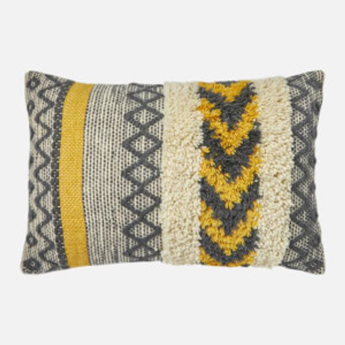 Textured Cushion - Yellow and Grey - Save £12