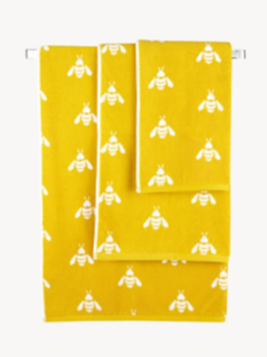 Yellow Bee Print Cotton Towel Range