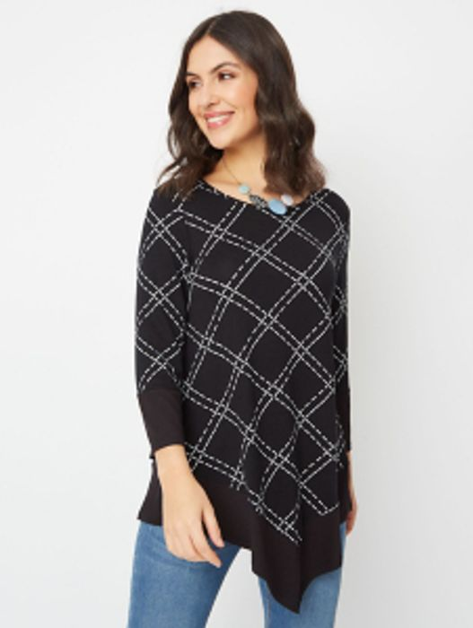 Black Stitch Pattern Tunic Top and Necklace Set