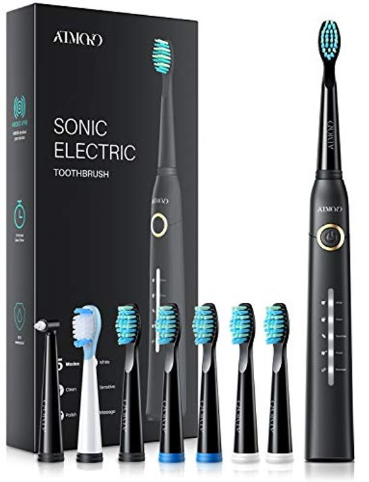 ATMOKO Sonic Toothbrush Rechargeable Whitening Toothbrush with 5 Modes £15.20