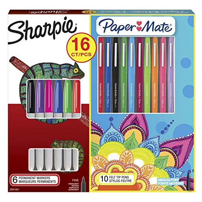 Sharpie Permanent Marker & Paper Mate Flair Felt Tip Pen Kit,