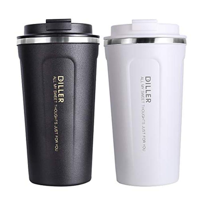 350ml or 450ml Thermal Travel Mug Black or White