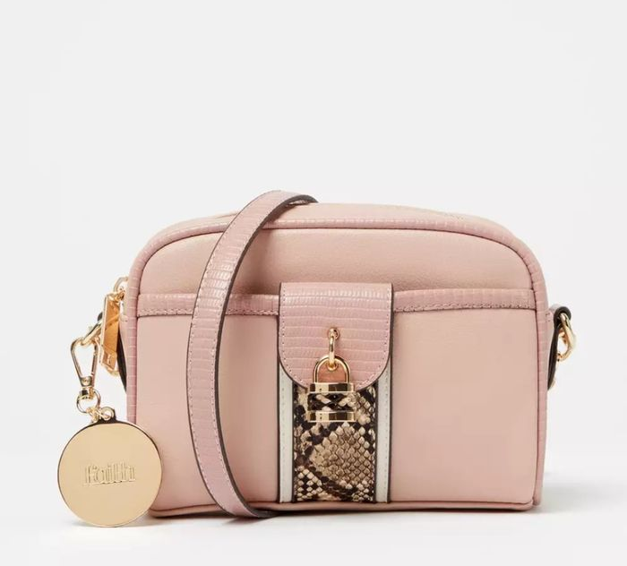 Faith - Pink Padlock Faux Leather 'Aurora' Cross-Body Bag