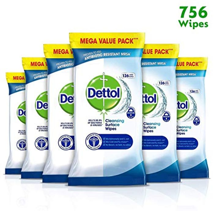 Dettol Wipes Antibacterial Surface Cleaning, Multipack of 6 X 126,
