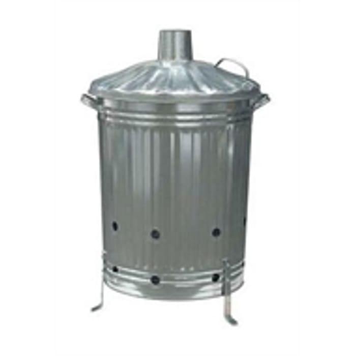 Garden Galvanised Steel Incinerator Bin with Lid - 85L