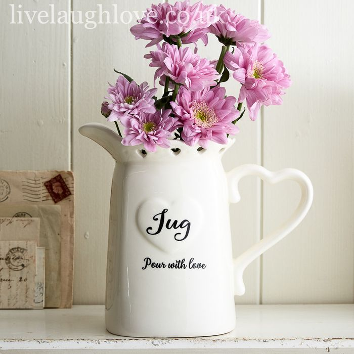 Ceramic Jug with Cut out Hearts - Pour with Love