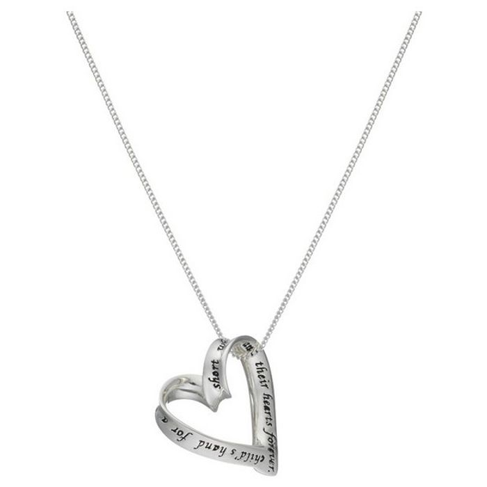 Moon & Back Silver Heart 'Mum' Pendant 18 Inch Necklace 70%off at Argos