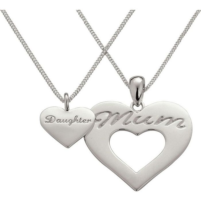 Moon & Back Mum & Daughter Pendant 16 & 18 Inch Necklaces