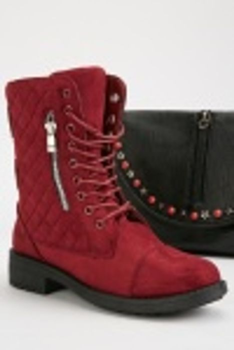 Quilted Suedette Ankle Boots
