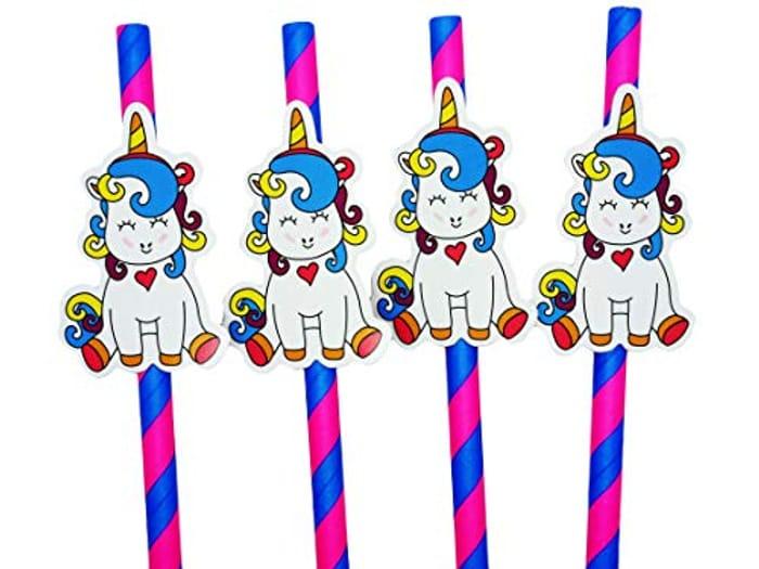 Pink and Blue Unicorn Straws X 25