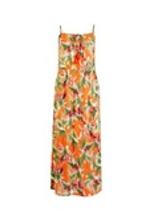 Orange Tropical Print Maxi Dress