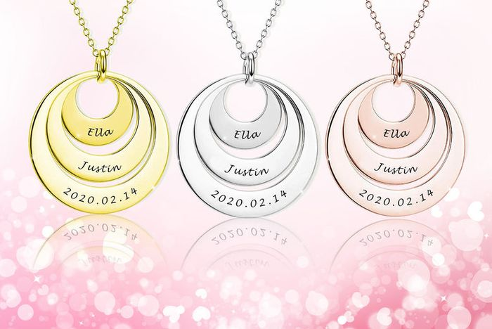 Engraved Personalised Tri-Ring Necklace 3 Colours!