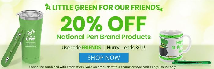 20% off National Pen Brand Products at National Pen