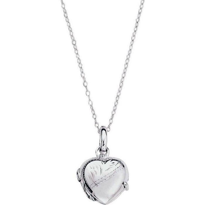 Moon & Back Silver Heart 2 Photo Locket 16 Inch Necklace