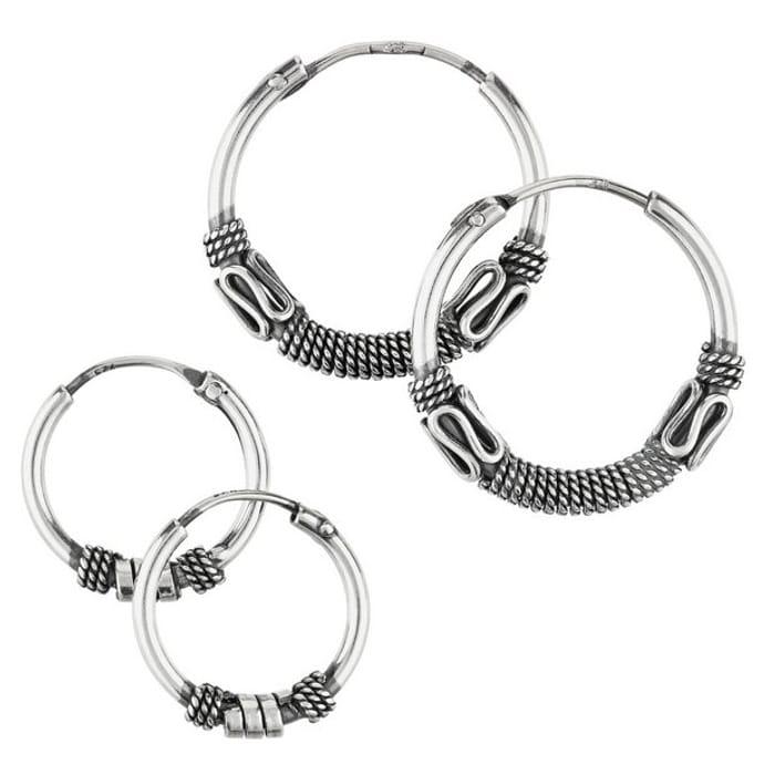 Revere Sterling Silver Bali Set of 2 Hoop Earrings