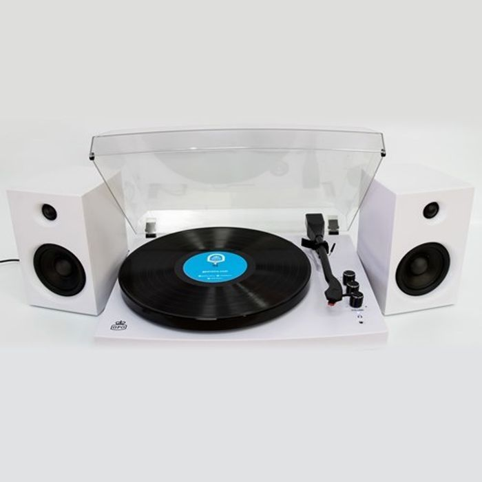 Back to Technology Offers GPO Piccadilly Matte White Turntable with Speakers