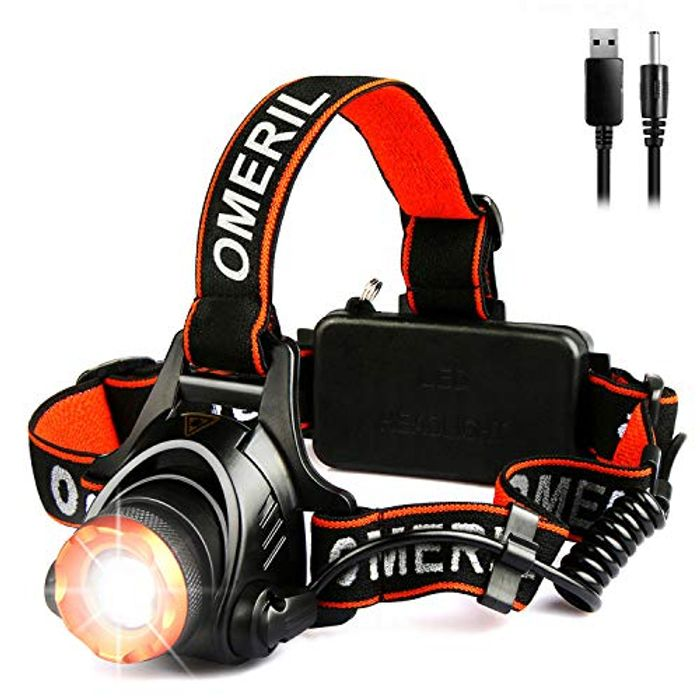 Lightning & Voucher LED Head Torch -OMERIL USB Rechargeable Head Torches