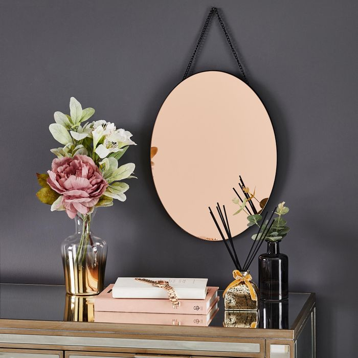 Oval Hanging Copper Mirror Click & Collect