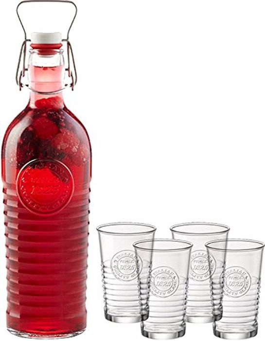 Price Drop! Bormioli Rocco Swing Top 1 Bottle+4 Glasses